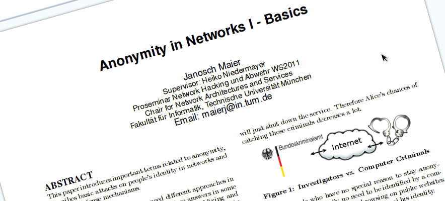 Anonymity in Networks I